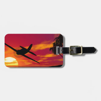 Airplane in a Tropical Sunset Luggage Tag