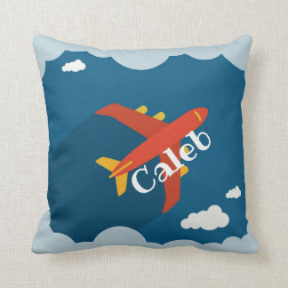 Airplane in Blue Sky Child's Nursery Personalized Throw Pillow