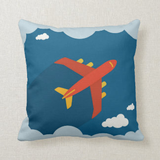 Airplane in the Blue Sky Children's Nursery Pilot Throw Pillow