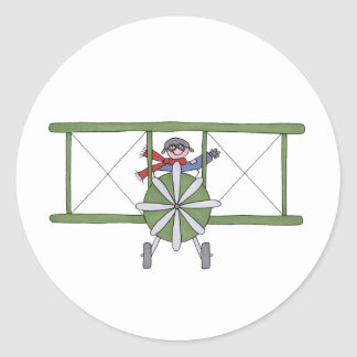 Airplane in the clouds classic round sticker
