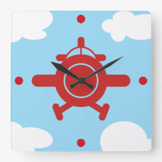 Airplane in the sky square wall clock