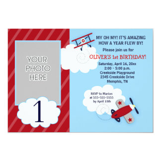 Airplane Little Aviator Red & Navy Photo Birthday Card