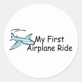 Airplane My First Airplane Ride Round Sticker