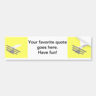 Airplane on plain yellow background. bumper sticker
