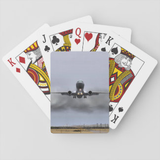 Airplane on the verge of landing playing cards