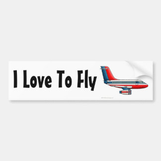 """Airplane Passenger Jet Plane, I Love To Fly… Bump Bumper Sticker"