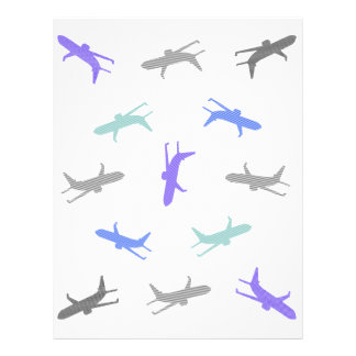 Airplane pattern - blue, gray and black. letterhead