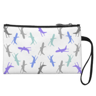 Airplane pattern - blue, gray and black. wristlet