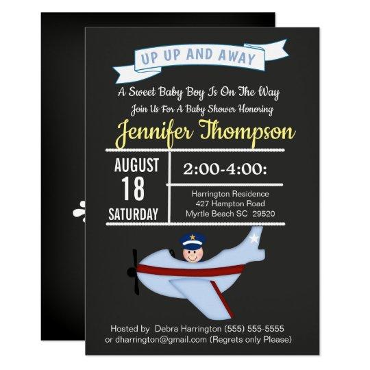 Airplane Pilot  Baby Boy Shower Invitation