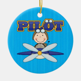 Airplane Pilot Ceramic Ornament