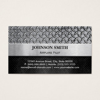 Airplane Pilot - Diamond Metal Plate Business Card