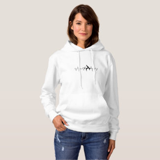 Airplane Pilot Heartbeat  Funny Flyer Flying Gift Hoodie
