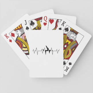 Airplane Pilot Heartbeat  Funny Flyer Flying Gift Playing Cards