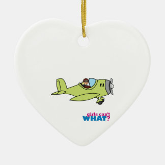 Airplane Pilot - Light/Blonde Ceramic Heart Ornament