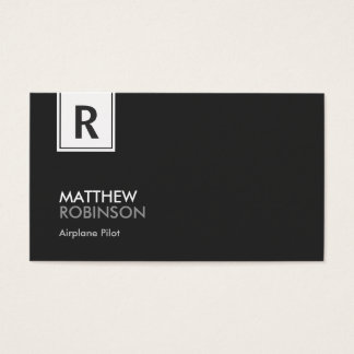 Airplane Pilot - Modern Classy Monogram Business Card