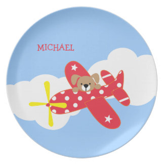 Airplane Puppy Dog Kids Plate