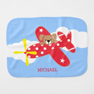 Airplane Puppy Dog Personalized Burp Cloth