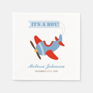 Airplane Red Blue Boy Baby Shower Disposable Napkins