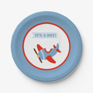 Airplane Red Blue Boy Baby Shower Paper Plate