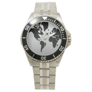 airplane silhouette over black world map watch