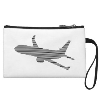 Airplane - strips - black  and white. wristlet