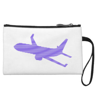 Airplane - strips - blue and white. wristlet
