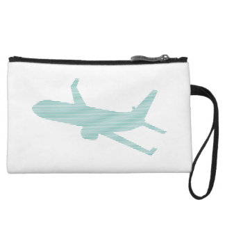 Airplane - strips - blue. wristlet