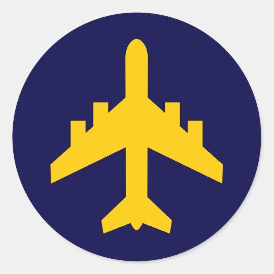 Airplane Symbol in Circle Classic Round Sticker