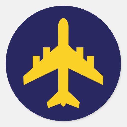 Airplane Symbol in Circle Round Sticker