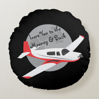 Airplane throw pillow, to the Mooney & back Round Pillow