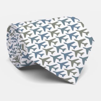 Airplane Tie Armani Grey on White