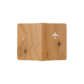 airplane travel wood grains passport holder