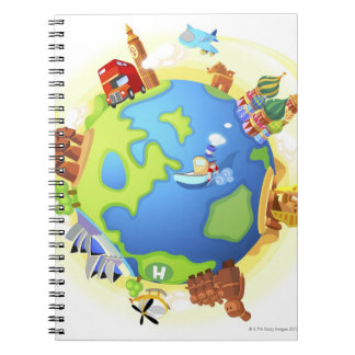 Airplane traveling various famous places of the notebooks