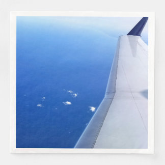 Airplane Wing Flying in Sky Photo Paper Napkin