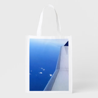 Airplane Wing Flying in Sky Photo Reusable Grocery Bag