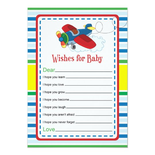 Airplane Wishes for Baby Shower Game Card