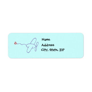 Airplane with Heart Return Address Label
