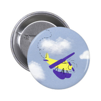 Airplane Yellow and Blue Cartoon Art 2 Inch Round Button