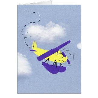 Airplane Yellow and Blue Cartoon Art Card