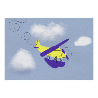 Airplane Yellow and Blue Cartoon Art Poster