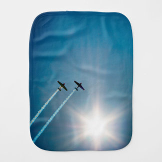 Airplanes Flying on Blue Sky with Sun. Burp Cloth