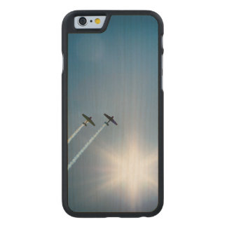 Airplanes Flying on Blue Sky with Sun. Carved Maple iPhone 6 Case