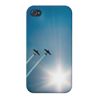 Airplanes Flying on Blue Sky with Sun. Case For The iPhone 4