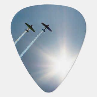 Airplanes Flying on Blue Sky with Sun. Guitar Pick