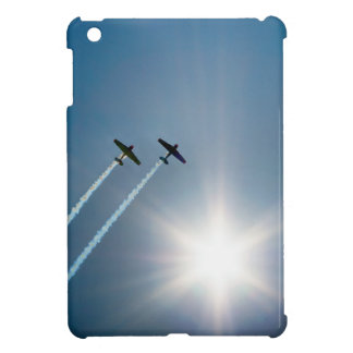 Airplanes Flying on Blue Sky with Sun. iPad Mini Covers
