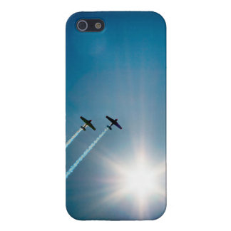 Airplanes Flying on Blue Sky with Sun. iPhone 5 Covers