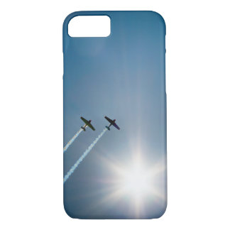 Airplanes Flying on Blue Sky with Sun. iPhone 8/7 Case