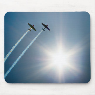 Airplanes Flying on Blue Sky with Sun. Mouse Pad