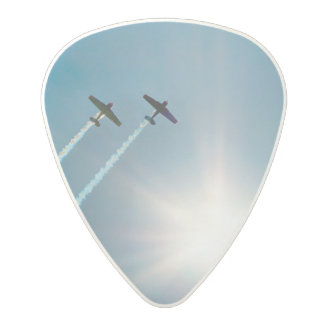 Airplanes Flying on Blue Sky with Sun. Polycarbonate Guitar Pick