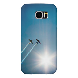 Airplanes Flying on Blue Sky with Sun. Samsung Galaxy S6 Cases
